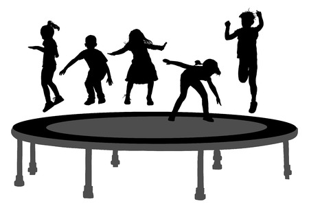 Children silhouettes jumping on garden trampoline vector illustration. Happy girls and boys jumping on trampoline.