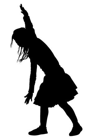 Happy joyful kid, little girl doing exercises, vector silhouette illustration isolated on white background. Like a plane. Illustration