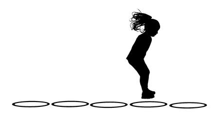 little girl feet: Happy joyful kid, little girl doing excercises , vector silhouette illustration isolated on white background. Jumping girl.