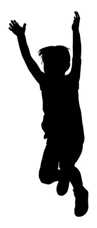 Happy joyful kid, little boy doing excercises , vector silhouette illustration isolated on white background. Jumping boy, hands in the air.