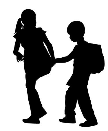 Niños que van a la escuela juntos, ilustración vectorial silueta. De vuelta a la escuela. El muchacho con el morral. Primer amor. Niños felices. Educación, muchacho con los libros. Schoolkids feliz. Ilustración del vector. Foto de archivo - 60852534