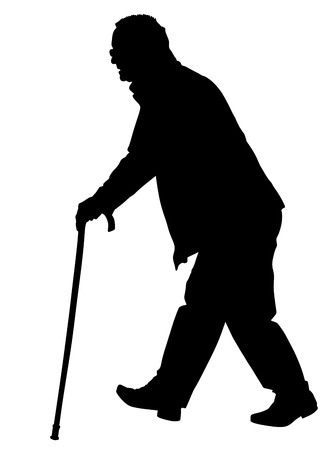 Old man person walking with stick. Vector character isolated on white background.