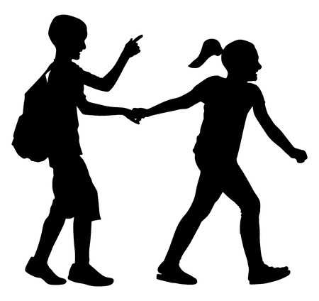 Kids going to school together, vector silhouette illustration. Back to School. Boy with Backpack. First love. Happy Kids. Education, boy with Books. Happy Schoolkids. Vector illustration. Illusztráció