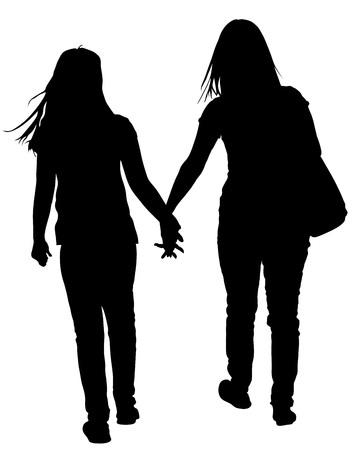 Twee lesbische meisjes overhandigen aan hand vectordiesilhouetillustratie op witte achtergrond wordt geïsoleerd. Heerlijk lesbisch koppel op straat. Nabijheid in het openbaar.