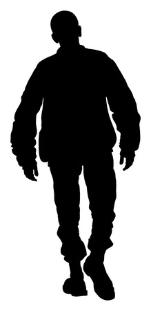 skinhead: Angry hooligan walking the street vector silhouette illustration.