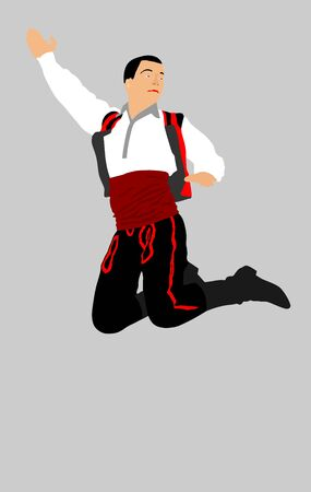 Balkan Dancer, vector illustration isolated on background. Folk dance in Europe. Russian folklore event artist in traditional dress. Happy groom jumping in air. Vintage outfit man. Фото со стока - 128347333