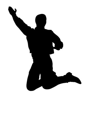Balkan Dancer silhouette, vector illustration isolated on background. Folk dance in Europe. Illustration