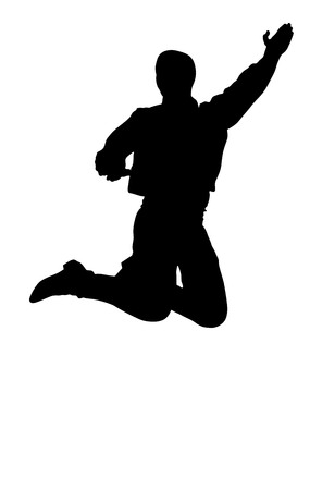 folk dance: Balkan Dancer silhouette, vector illustration isolated on background. Folk dance in Europe. Illustration