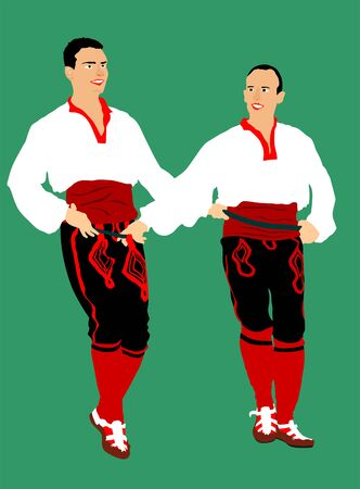 Balkan dancers vector illustration isolated on background. Folk dance kolo in east Europe. Greek Evzone traditional dancing group. Folklore event. Sirtaki, Syrtaki. Wedding dance.