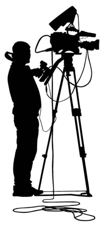 Cameraman vector silhouette with video camera on event, concert, sport event,  isolated on background. Vector illustration.  Breaking news in studio. Broadcast il live. Фото со стока - 128347330