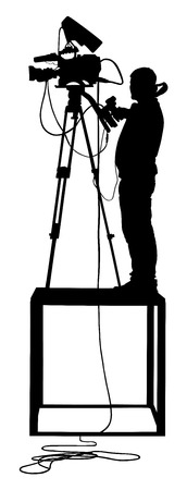 Cameraman silhouette with video camera on event, concert, sport event, isolated on background. Vector illustration. Breaking news in studio. Broadcast il live.