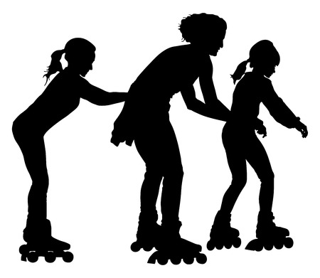 rollerblading: Roller skating girls with mother in park rollerblading vector silhouette isolated on white background. In-line skating. Happy family on roller skating.