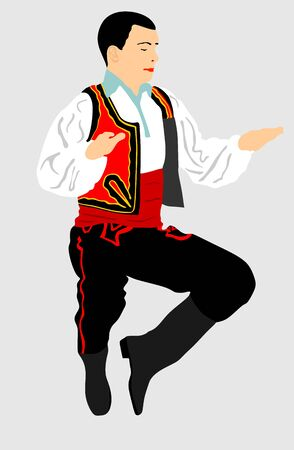 Balkan Dancer, vector illustration isolated on background. Folk dance in Europe. Russian folklore event artist in traditional dress. Happy groom jumping in air. Vintage outfit man. Фото со стока - 128347332