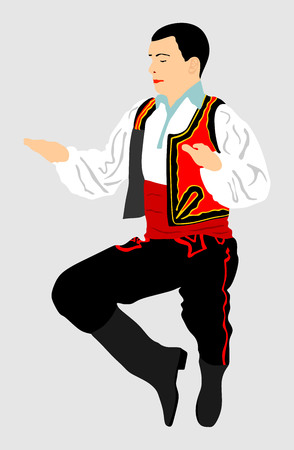 Balkan Dancer, vector illustration isolated on background. Folk dance in Europe. Illustration