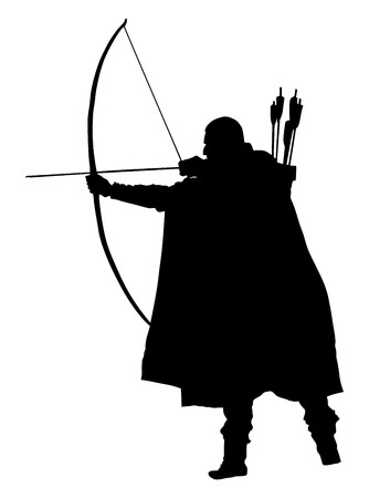 Archer vector silhouettes on the white background.