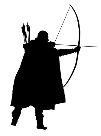 Archer vector silhouettes on the white background. Vettoriali