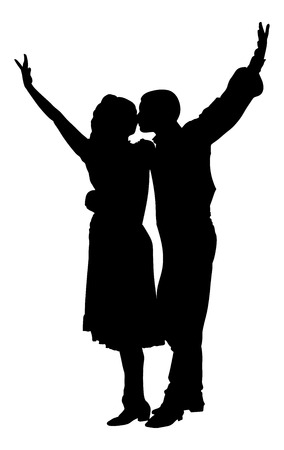 closeness: Couple in love dancing vector silhouette isolated on white background. Closeness in public.