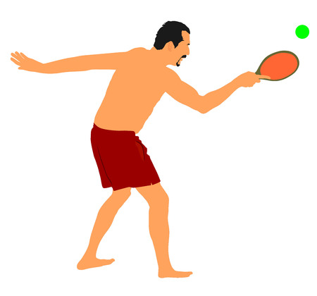 arduous: Senior man playing beach tennis, ball game for beach, vector illustration. Summer time.