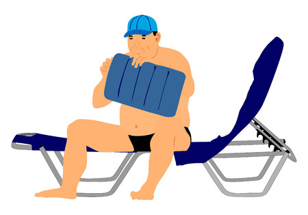 retired: Senior man sitting on sun bed sofa lounge chair on holidays. Summer luxury vacation. Day on the beach vector illustration, sunbathing by the pool. Mature fat man blowing air pillow. Retired man.