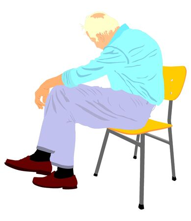 Lonely old man sitting on chair in vector illustration. Worried senior person. Desperate retiree looking down. Daydreaming,no hope. Pensioner thinking about life.Senility alzheimers trouble Ilustração