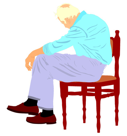 Lonely old man sitting on chair in vector illustration. Worried senior person. Desperate retiree looking down. Daydreaming,no hope. Pensioner thinking about life.Senility alzheimers trouble Illustration