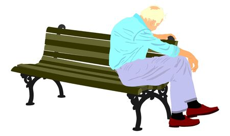 Lonely old man sitting on bench in the park vector illustration. Worried senior person. Desperate retiree looking down. Daydreaming,no hope. Pensioner thinking about life. Senility alzheimers trouble. Ilustração
