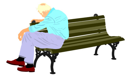 looking down: Lonely old man sitting on bench in the park vector illustration. Worried senior person. Desperate retiree looking down. Daydreaming,no hope. Pensioner thinking about life. Senility alzheimers trouble. Illustration