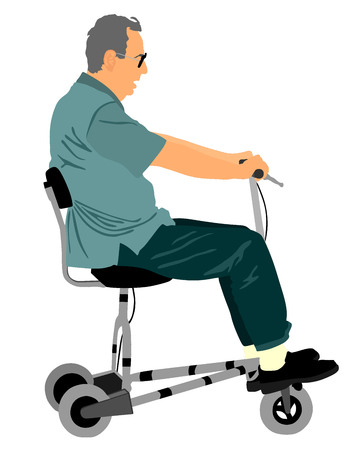 active life: Senior man on electric bicycle,tricycle vector illustration isolated on white background. Mature man on electric walker. Disabled person active life concept. Illustration