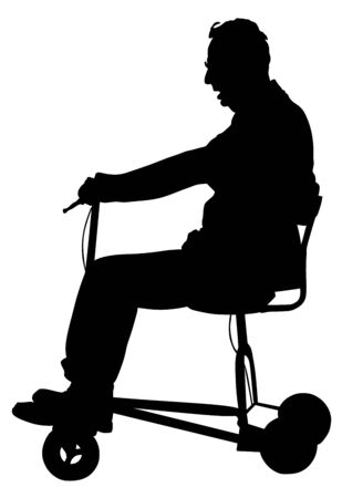 Senior man on electric bicycle,tricycle vector silhouette illustration isolated on white background. Mature man on electric walker. Disabled person active life concept.
