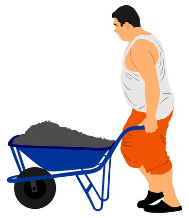 Construction worker with wheelbarrow vector illustration. Man carrying loader with goods at warehouse. Transportation carrying on cart vector. Worker with full cart. Farmer pushing cart.