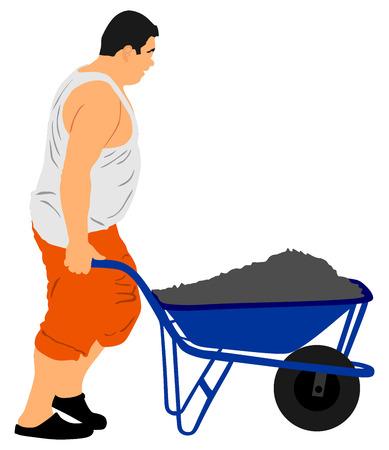 Construction worker with wheelbarrow vector illustration.
