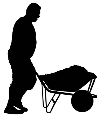 Construction worker with wheelbarrow vector silhouette illustration. Man carrying loader with goods at warehouse. Transportation carrying on cart vector. Worker with full cart. Farmer pushing cart. Фото со стока - 128603197