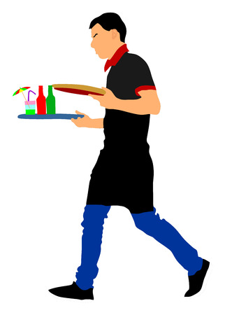 Barmen, waiter with empty and full trays, vector illustration on the white background. Servant in restaurant taking orders.