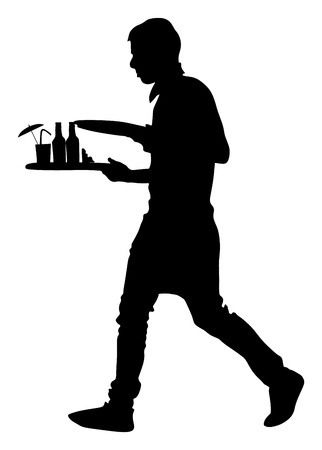 servant: Barmen, waiter with empty and full trays, vector silhouette illustration on the white background. Servant in restaurant taking orders.