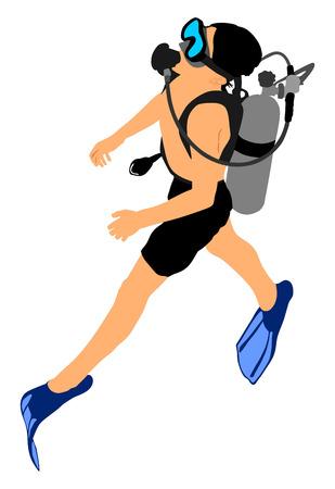 Tauchen Vektor-Illustration isoliert auf weißem Hintergrund .. Sport unter Wasser, Maske und Schnorchel. Tauchen Tauchschule. Angeln und Schwimmen.
