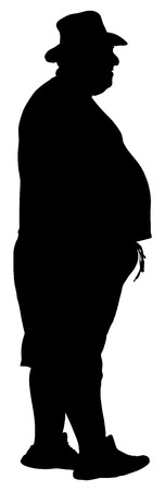 Big fat tourist man vector silhouette illustration isolated on white background. Illustration