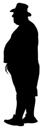 hopeful: Big fat tourist man vector silhouette illustration isolated on white background. Illustration