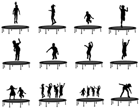 Children silhouettes jumping on garden trampoline, set of vector illustrations isolated on white background.