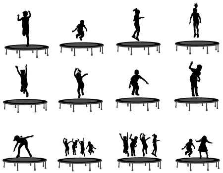 little girls: Children silhouettes jumping on garden trampoline, set of vector illustrations isolated on white background.