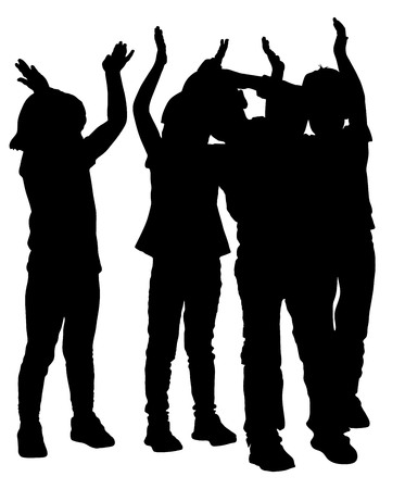 applauding: Group of smiling children, girl and boy applauding, vector silhouette illustration isolated on white background. Hands in the air.