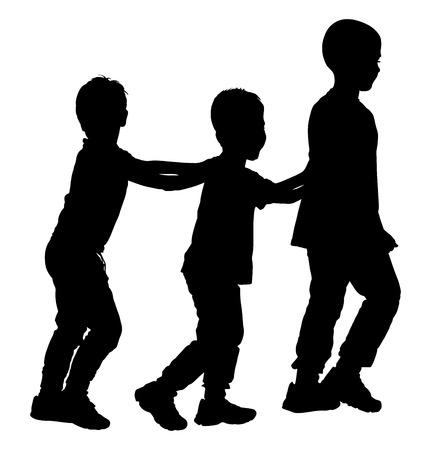 little girl feet: Children play train game vector silhouette illustration isolated on white background. Illustration