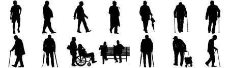 Seniors mature persons in many walking pose, casual active life. Old man persons walking with stick. Vector characters isolated on white background. Group of grandpa vector silhouette.
