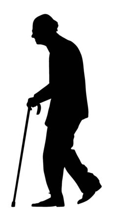 Old man person walking with stick. vector silhouette character isolated on white background. Senior mature, old people active life. Health care concept.  Grandpa silhouette. Retail senior in park.