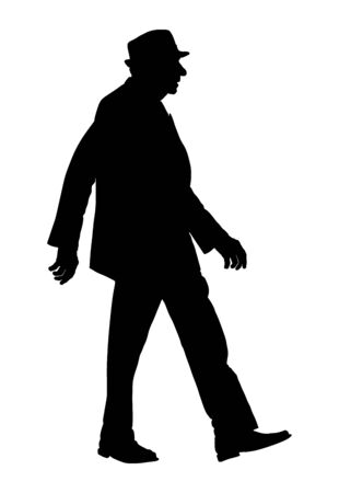 Old man elegant person walking on the street. Vector silhouette character isolated on white background. Senior in suite and hat.