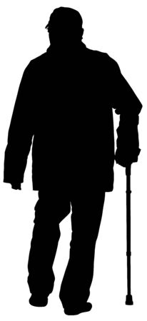 Old man person walking with stick. vector silhouette character isolated on white background. Senior mature, old people active life. Health care concept.  Grandpa silhouette. Retail senior in park. Banco de Imagens - 128198302