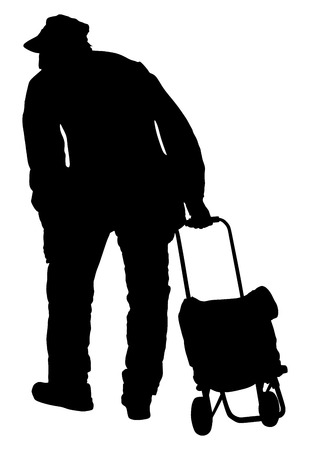 Old man walking with bag. Vector silhouette illustration.