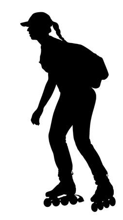 niña de patinaje sobre ruedas en el parque de patinaje en la silueta del vector aislado en el fondo blanco. Patinaje en línea.