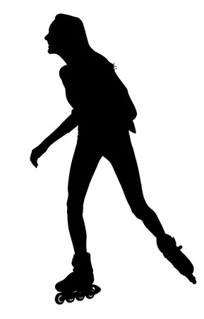 Roller skating girl in park rollerblading vector silhouette isolated on white background. In-line skating.