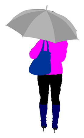 Girl with umbrella on the rain vector illustration.