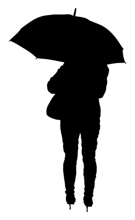 outdoor glamour: Girl with umbrella on the rain vector silhouette illustration isolated on white background.